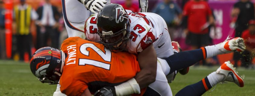 Broncos vs Falcons: Lynch sacked by Dwight Freeney