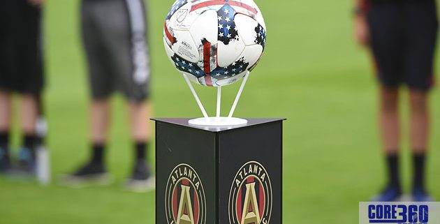 Stars and Stripes ball for the game. Atlanta United defeated New York FC 3-1