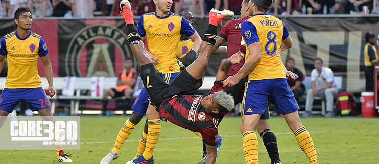 Josef Martinez attempts a bicycle kick against the Colorado Rapids.