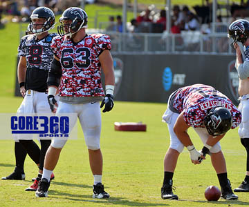 Ben Garland (63) and Wes Schweitzer (71) work together as guard and center in a training camp drill.