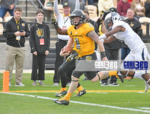 Chandler Burks scores one of 4 TDs to lead the Kennesaw State Owls to its first Big South Conference championship.