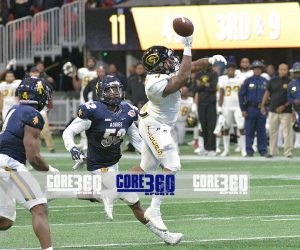 Devante Kincade's pass sails over the head of Martez Carter in the final 8 seconds of the 2017 Celebration Bowl.